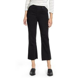 Spanx womens jeans black cropped flare raw-hem M
